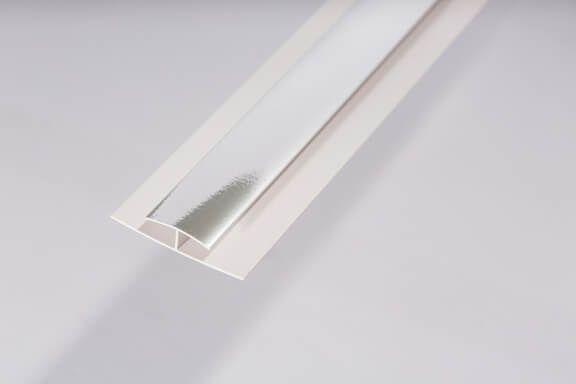 Bathroom & Kitchen Cladding Aqua200/250 PVC Division Bar H Trim for Wall/ Ceiling - 2700mm Chrome