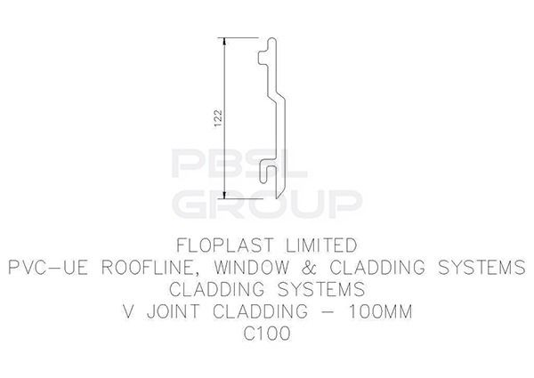 V Joint Cladding - 100mm x 5mtr Black Ash Woodgrain