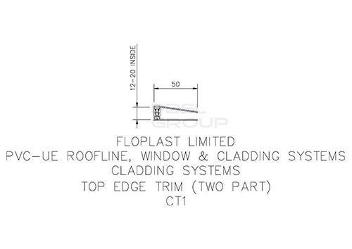 Shiplap Cladding Two Part Top Edge Trim - 5mtr White