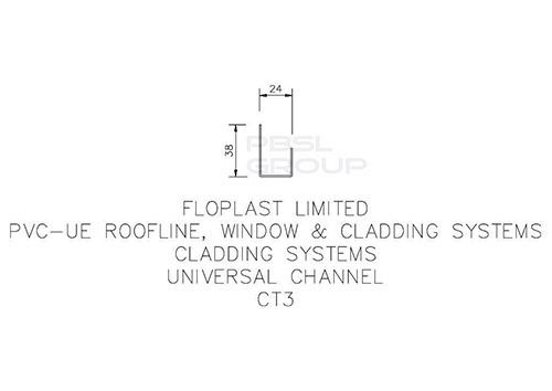 Shiplap Cladding Universal Channel - 5mtr Black Ash Woodgrain