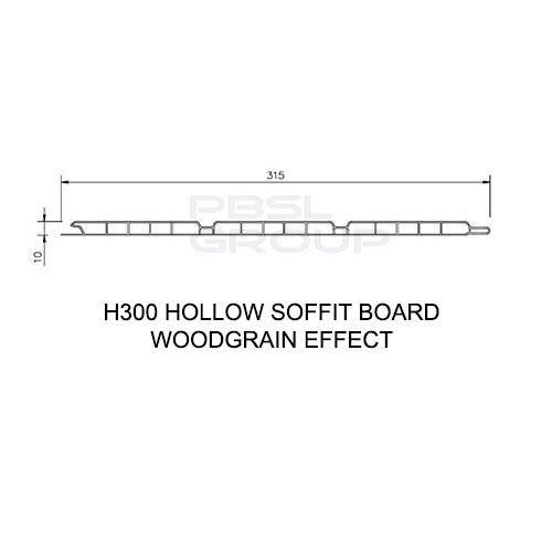 Hollow Soffit Board - 300mm x 10mm x 5mtr Black Ash Woodgrain