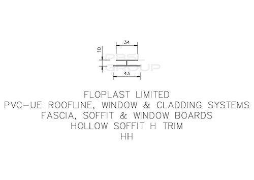 Hollow Soffit H Trim - 5mtr Rosewood