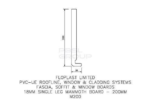 Replacement Fascia - 200mm x 18mm x 5mtr Golden Oak