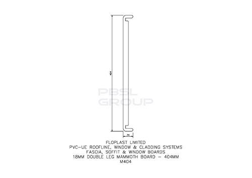 Replacement Fascia Box End - 404mm x 18mm x 1.25mtr Black Ash Woodgrain