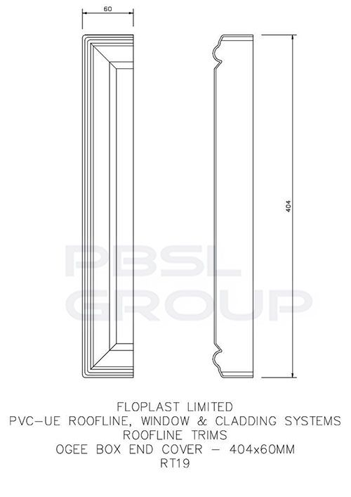 Ogee Fascia Box End Cover - 60mm x 404mm White