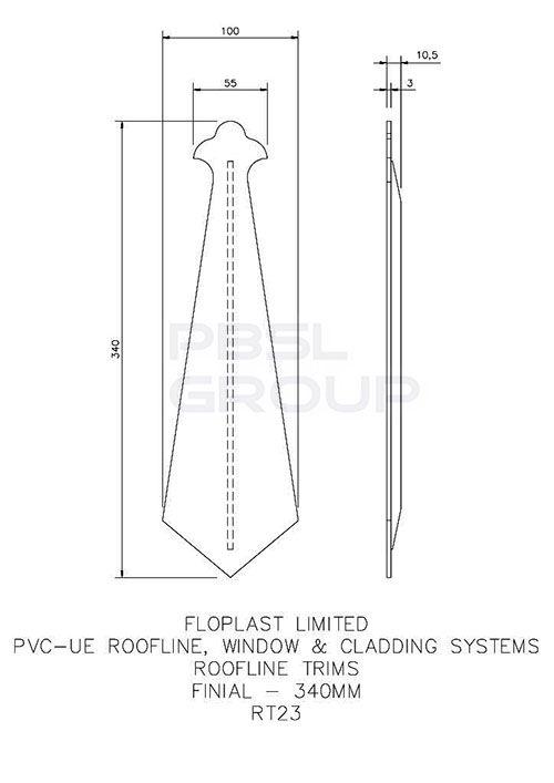 Replacement Fascia Bargeboard Finial - 340mm Rosewood