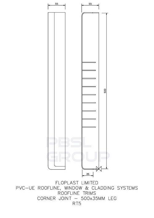 Replacement Fascia Double End Corner - 500mm x 35mm Black Ash Woodgrain