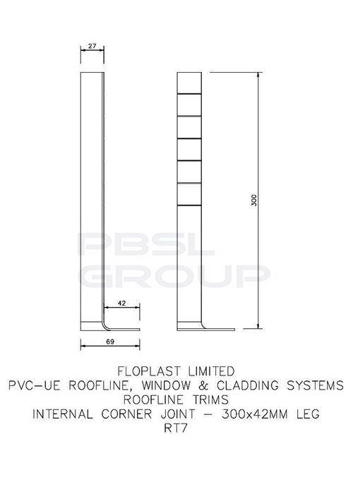 Cover Board Internal Corner - 300mm White