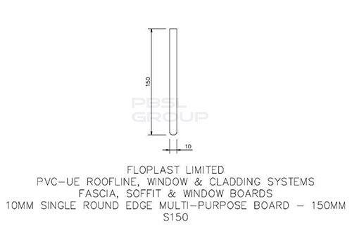 Soffit Board - 150mm x 10mm x 5mtr Black Ash Woodgrain