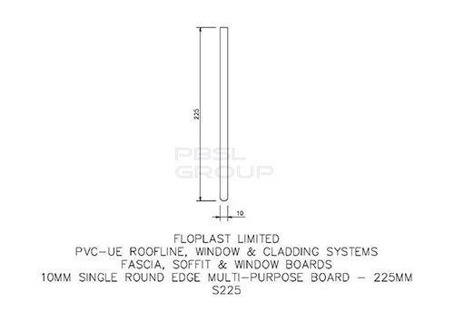 Soffit Board - 225mm x 10mm x 5mtr Black Ash Woodgrain