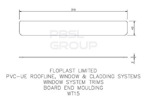Replacement Fascia End Cap - 315mm Black Ash Woodgrain