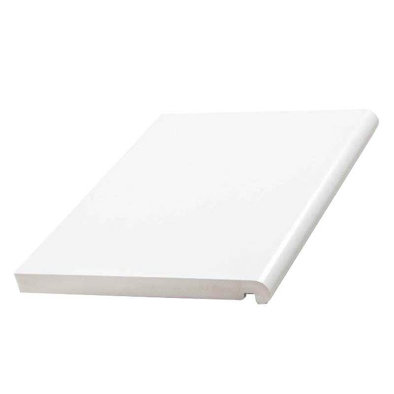 Bullnose Fascia Box End Double Edged - 405mm x 22mm x 1.25mtr White