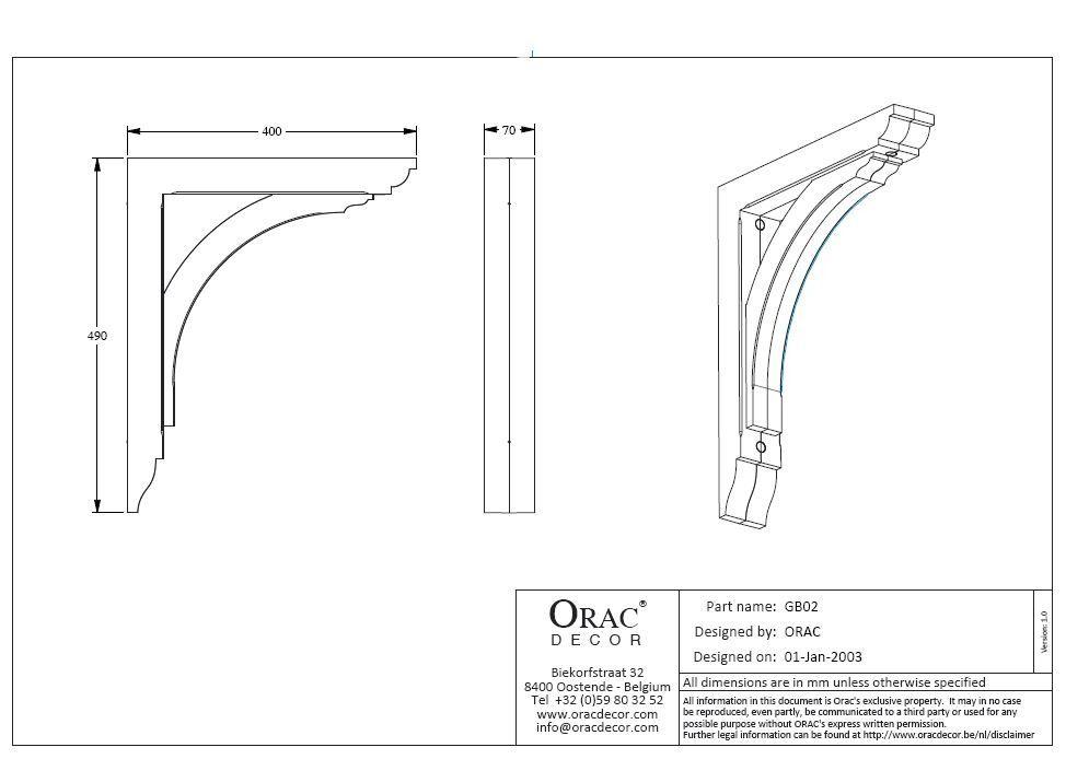 Gallows Bracket Exterior - 70mm x 400mm x 490mm White