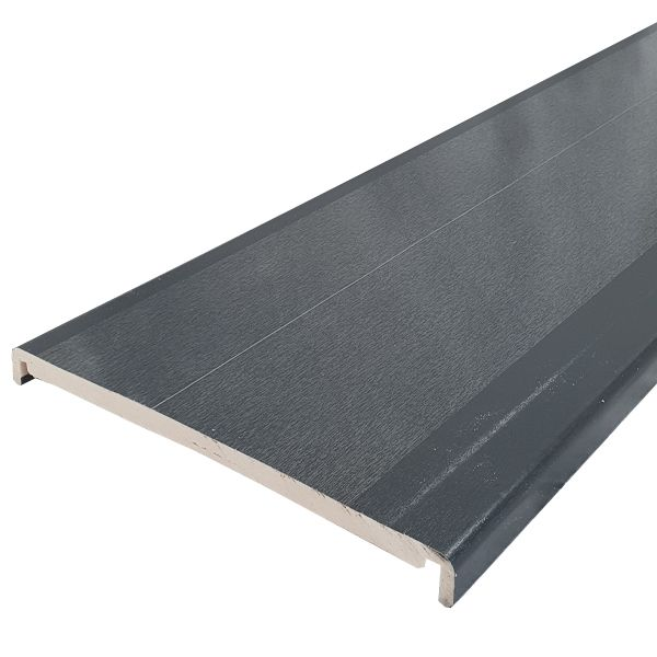 Replacement Fascia Box End - 404mm x 18mm x 1.25mtr Anthracite Grey Woodgrain