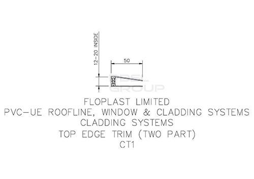 Shiplap Cladding Two Part Top Edge Trim - 5mtr White