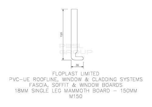 Replacement Fascia - 150mm x 18mm x 5mtr White