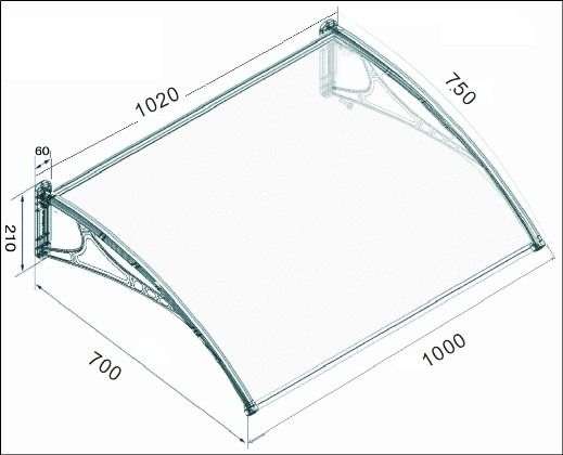 Miento Canopy With Clear 3mm Solid Polycarbonate Glazing - 1000mm x 700mm Black