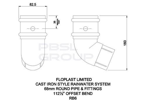 Round Downpipe Offset Bend - 112.5 Degree x 68mm Cast Iron Effect
