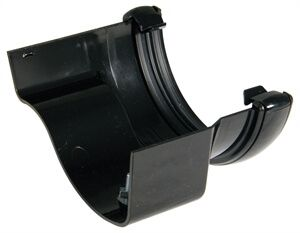 PVC Half Round to Cast Iron Ogee Right Hand Gutter Adaptor - Cast Iron Effect