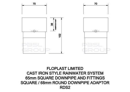 PVC Square to PVC Round Downpipe Adaptor - White