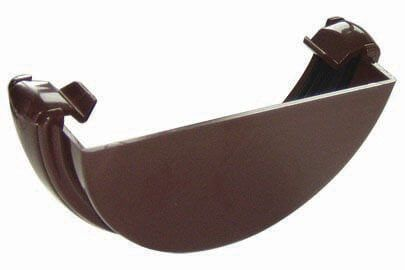 Half Round Gutter External Stopend - 112mm Brown