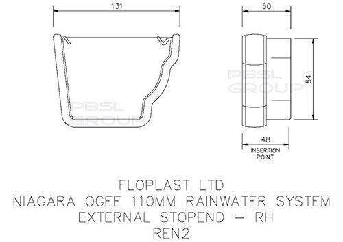 Ogee Gutter External Stopend Right Hand - 110mm x 80mm White