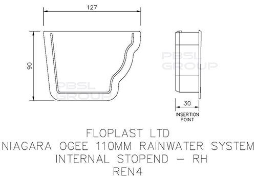 Ogee Gutter Internal Stopend Right Hand - 110mm x 80mm White