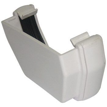 Square Gutter External Stopend - 114mm White