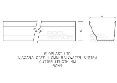 Ogee Gutter - 110mm x 80mm x 4mtr Black - OUT OF STOCK