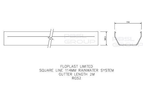Square Gutter - 114mm x 2mtr Brown - OUT OF STOCK