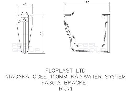 Ogee Gutter Fascia Bracket - 110mm x 80mm White