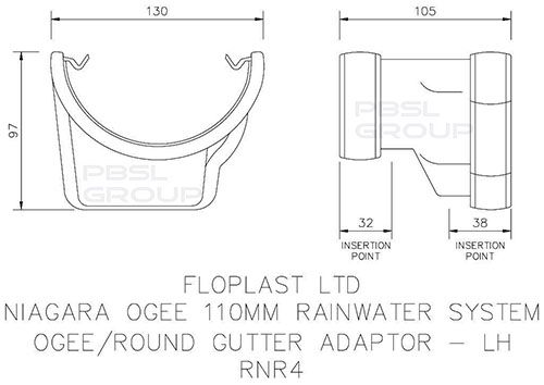 PVC Half Round to PVC Ogee Left Hand Gutter Adaptor - Brown