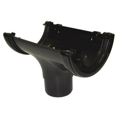 Half Round Gutter Running Outlet - 112mm Black