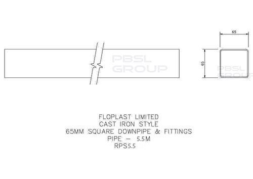 Square Downpipe - 65mm x 5.5mtr Black - OUT OF STOCK