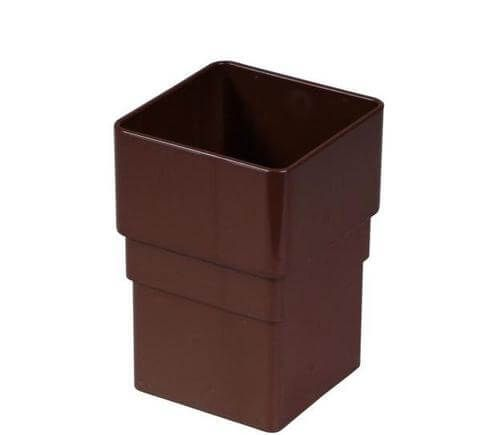 Square Downpipe Socket - 65mm Brown