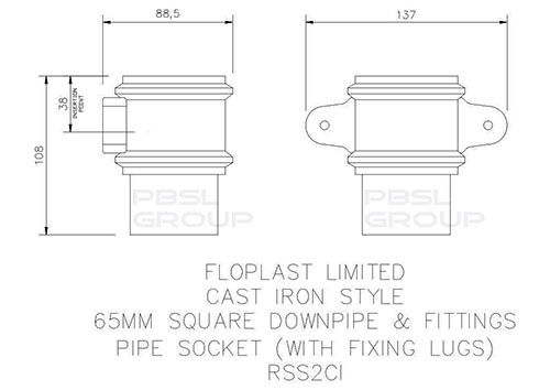 Square Downpipe Socket with Fixing Lugs - 65mm Cast Iron Effect