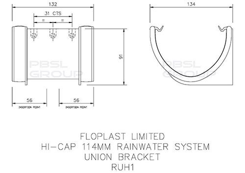 Deepflow/ Hi-Cap Gutter Union Bracket - 115mm x 75mm Grey