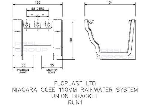 Ogee Gutter Union Bracket - 110mm x 80mm Black