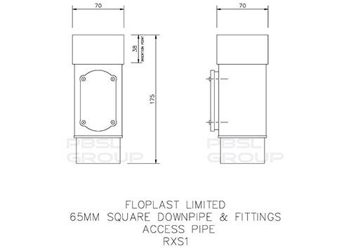 Square Downpipe Access Pipe - 65mm Black