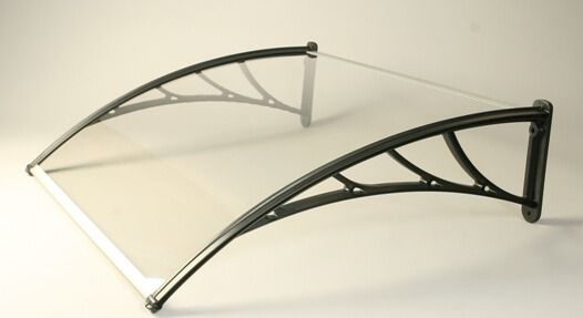 Tornillo Canopy With Clear 5mm Solid Polycarbonate Glazing - 1200mm x 1000mm White