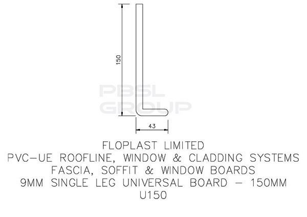 Cover Board - 150mm x 9mm x 5mtr White - Pack of 4