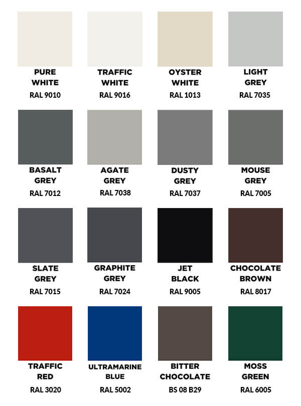 Standard Painted Colours For Aluminium Gutters