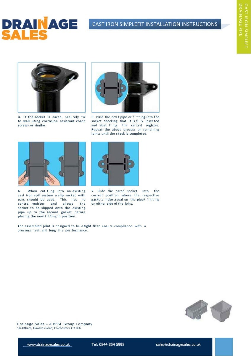 Installation Of Simplefit Cast Iron - Page 2