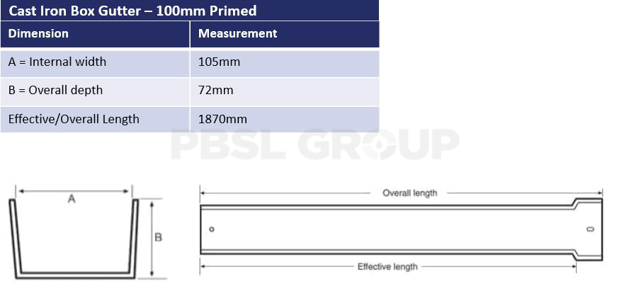 100mm Cast Iron Box Primed Dimensions