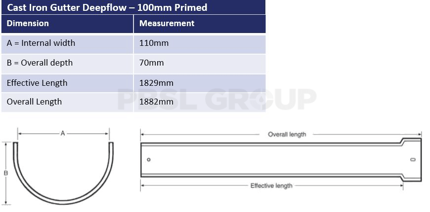 100mm Cast Iron Deepflow Primed Dimensions