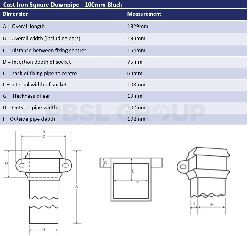 100mm Cast Iron Square Downpipe Black Dimensions
