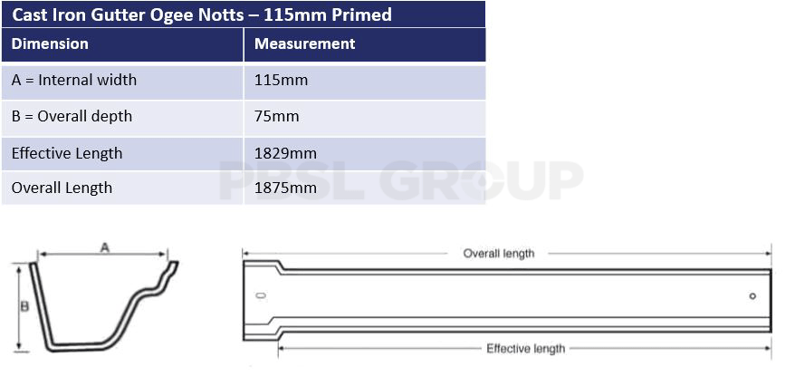 115mm Cast Iron Primed Ogee Notts Dimensions