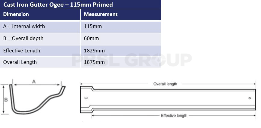 115mm Cast Iron Primed Ogee Dimensions
