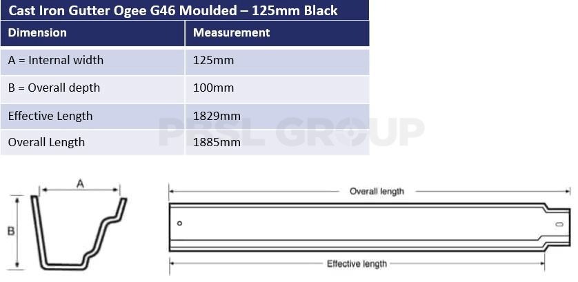 125mm Cast Iron Ogee G46 Black Dimensions