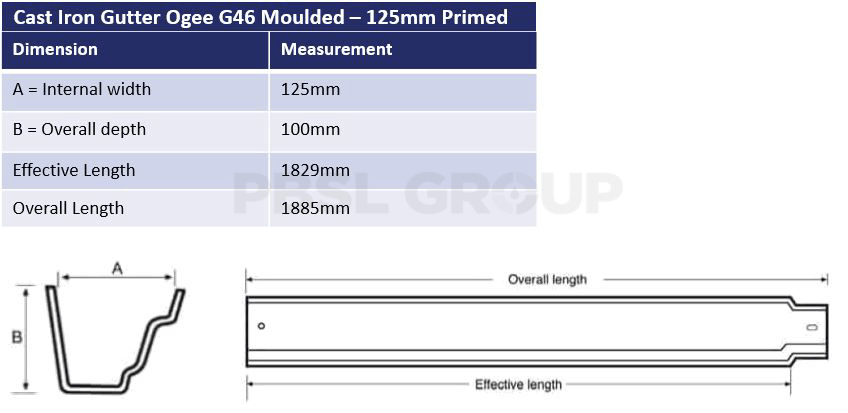 125mm Cast Iron Ogee G46 Primed Dimensions